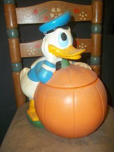 Donald Duck With Pumpkin Walt Disney Productions Cookie Jar (1970s)