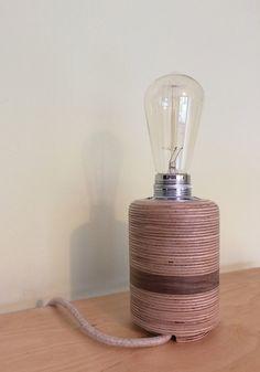 Birch table lamp with walnut inlay and 60 watt Edison bulb