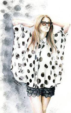 Fashion illustration - Black & white, pattern & texture - fashion illustration