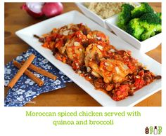 Moroccan spiced chicken served with quinoa and broccoli