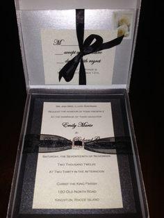 Boxed Wedding Invitation w/ Rhinestone Ribbon Buckle