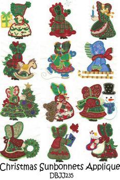 Merry Christmas Sunbonnet Sue Applique each design comes in 2 and hoop! Sunbonnet Sue, Applique Quilt Patterns, Machine Embroidery Patterns, Baby Applique, Applique Templates, Christmas Applique, Christmas Embroidery, Christmas Patterns, Quilting Projects