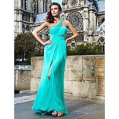Shining Sheath/Column One Shoulder Floor-length Chiffon Evening Dresses – USD $ 199.99