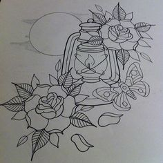 Working on a lot of projects. Worked this little piece in to an afternoon of sketchiness! #tattoo #traditional #traditionalflash #traditionaltattooflash #traditionaltattoo #neotradsub #neotraditional #neotraditionaltattoo #lantern #moth #rose #moon #igdai