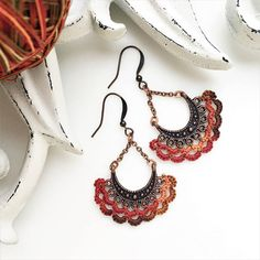 These autumn Antique Copper Chandelier Earrings feature handmade Lace in fall colors.  Unique long Boho Earrings are lightweight with the vintage inspired cotton ruffled edging.  Customize length, colors and metal for the perfect jewelry gift for her or it makes a versatile accessory for your outfits.  www.LacyTreasures.Etsy.com  autumn earrings | fall jewelry | warm tones jewelry | womens earrings | unique handmade jewelry gift | chandelier boho earrings | dangle earrings for women