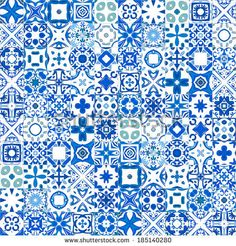 Seamless pattern illustration in blue and white - like Portuguese tiles - stock vector