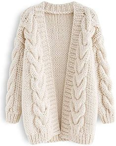 Cable Trim Chunky Hand Knit Cardigan - Retro, Indie and Unique Fashion Chunky Knit Yarn, Chunky Knit Cardigan, Beige Cardigan, Cable Knitting Patterns, Hand Knitting, Beginner Knitting, Unique Fashion, Fashion Women, Style Fashion