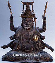Oldest extant wooden statue of the 8-armed Uga Benzaiten in Japan, 14th century. Kamakura Period, Hina Matsuri, Wooden Statues, Amaterasu, 12th Century, Pilgrimage, Deities, Japanese Art, Buddhism