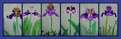 kindergarten irises1. turn paper vertical  2. fold down the center/crease, then open  3. name on back  4. draw overlapping leaves  5. color w/ shades of greens and yellow. blend. crayon.  6. dab purple, white (and blue..but i was out) tempera on one side of the fold (be a crazy control freak and give a clear demo of where to dab)  7. fold over and rub to transfer to create symmetry. like an ink blob  8. open.  9. let dry  10. when dry, add a stem w/ green crayon  11. add more yellows and…