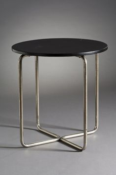 Anonymous; Lacquered Pine and Tubular Steel Side Table, c1930.