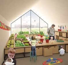 """""""Nursery Fields Forever"""" Reconnects Early Childhood Education with Nature,Interior Rendered View. Image Courtesy of Johnathan Lazar"""