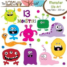 Monster Set: Clip Art Graphics for Teachers. see more at http://www.downhillpublishing.com/