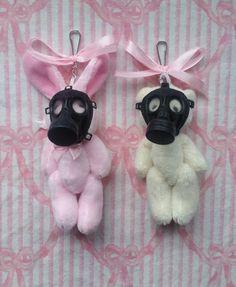 bear plush toy Super cute kawaii soft plush teddy bears & bunnies wearing adorable mini gasmasks in black! Soooo creepycute and pastel goth! They even pose-able limbs so they can be sitt
