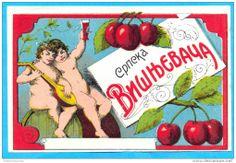 Yugoslavia-the old label for liquor cherry-brandy (visnjevaca)