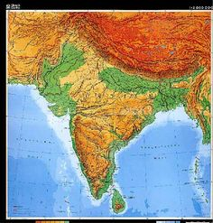 Printable Physical Map of India | Unlabelled South Asia Physical Maps of India, Pakistan, Nepal, Bhutan ...