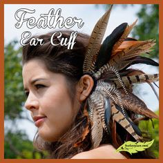 Wouldn't this be the perfect accessory for a summer music festival? This dramatic feather cuff will make a statement wherever you choose to rock it! #thefeatherplace #feather #featherearcuff