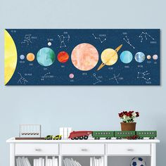 Solar System Art with Constellations for Kids - Wrapped Canvas or Decal  - Perfect for Outer Space Nursery by JoliePrints on Etsy