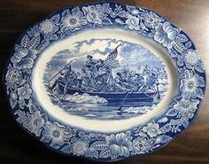 Cobalt Blue Transferware Colonial Washington DE Large Oval Platter