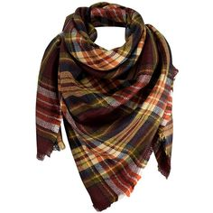 Peach Couture Warm Tartan Plaid Woven Oversized Fringe Scarf Blanket... ($15) ❤ liked on Polyvore featuring accessories, scarves, tartan wrap shawl, orange scarves, wrap scarves, tartan plaid shawl and wrap shawl
