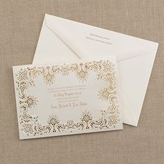 Shimmering Lace - Invitation from Carlson Craft - Item Number: RRN4847 - Shimmering laser-cut lace gives this invitation the look of vintage romance. #CarlsonCraft #wedding #lasercut