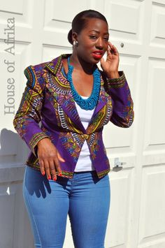 A purple African print dashiki jacket that can be dressed up or down. A stunning piece to light up your autumn wardrobe. Fully lined. Also available in green, black and fuschia. Hand made in Ghana. 100% cotton.  Please note that although cut from the same fabric the pattern may vary to that in the picture.  UK10/US 6 - B 34, W 28, Hips 37.5 UK12/US 8 - B 35.5, W 29, Hips 39 UK14/US 10 - B 37, W 31, Hips 41.5 UK16/US 12 - B 39, W 33, Hips 43.5 UK18/US 14 - B 41, W 36, Hips 46   Fabric care…