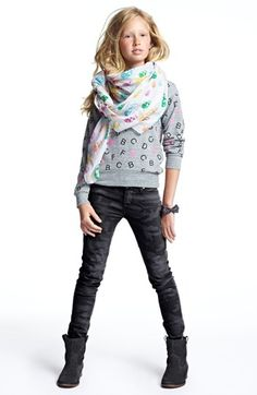 Modern Lux Sweater, Hudson Kids Skinny Jeans & Accessory Collective Scarf (Big Girls) available at #Nordstrom