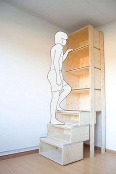 Des casiers bois pour un rangement jusqu'au plafond