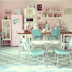 10 Honest Tricks: Vintage Home Decor Retro Kitchen Dining modern vintage home decor laundry rooms.Vintage Home Decor Living Room House Tours vintage home decor industrial rustic.Vintage Home Decor Ideas Shelves. American Diner Kitchen, Deco Pastel, Pastel Candy, Pastel Pink, Pastel Colours, Pink Blue, Pink White, Yellow, Cocina Shabby Chic