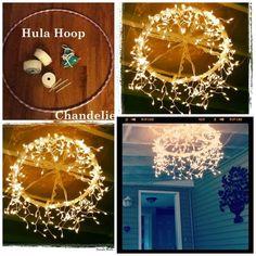 Outdoor Lighting: Hula Hoop Chandelier: Wrap lace round hoop, then icicle lights :) Lustre Hula Hoop, Hula Hoop Chandelier, Diy Chandelier, Outdoor Chandelier, Hula Hoop Light, Homemade Chandelier, How To Make A Chandelier, Chandeliers, Outdoor Lighting