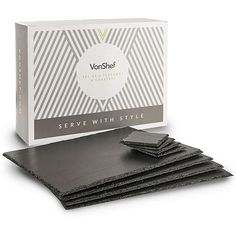 Bring a touch of elegance to dining indoors or out with this stylish VonShef 8 Piece Slate Grey Placemats and Coasters Set. Tesco Direct, Placemat Sets, Contemporary Decor, Coaster Set, Slate, Dining Table, Serveware, Natural, Chalkboard