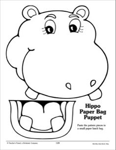 Hippo: Paper Bag Puppet Pattern