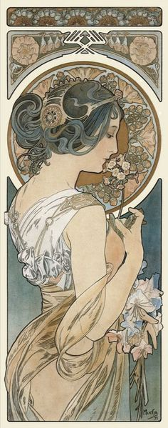 Title: Primrose Designer: Alphonse Mucha Date: 1899 Medium: Paint Category: Painting/Illustration Something Interesting: The use of a woman and the intricate designs show that it is an Art Nouveau piece. Mucha Art Nouveau, Alphonse Mucha Art, Art Nouveau Poster, Art Nouveau Tattoo, Art Nouveau Design, Illustration Photo, Illustration Art Nouveau, Woman Illustration, Jugendstil Design