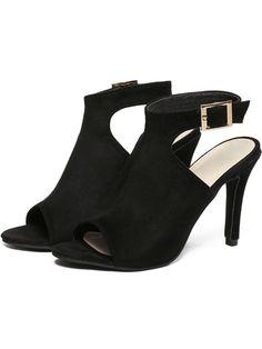 Black Peep Toe Ankle Strap High Stiletto Heel Sandals 30.90