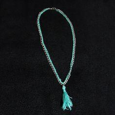 Γαλάζιο χειροποίητο κολιέ / Handmade necklace pendant - Fluffy Bunny e-shop Tassel Necklace, Pendant Necklace, Fluffy Bunny, Handmade Necklaces, Shop, Jewelry, Fashion, Moda, Jewlery