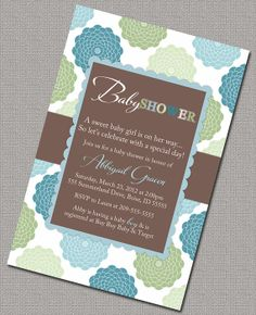 Baby Boy Shower Invitations, Blue, Green and Brown Floral Baby Shower Invite boys, DIY printable file - Design 876