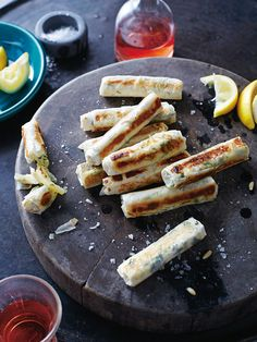 Haloumi, mint and preserved lemon cigars