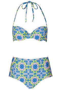 Tile Print High-Waisted Bikini Set