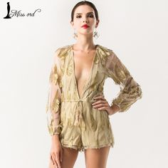 Missord 2016 Sexy Deep-V Long sleeve Feathers Elastic playsuits FT4311