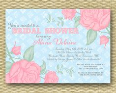 Vintage Roses2 Bridal Shower, Wedding Shower or Baby Shower Tea Party Invitation - Any Colors. $18.00, via Etsy.