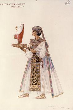 Irene Sharaff - Costumes de Films - Esquisses et Croquis - Cléopâtre - 1963 - Egyptien de la Cour