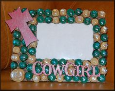Cowgirl Cross Picture Frame by CrossFrenzy on Etsy, $30.00