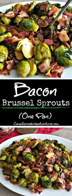 These Bacon Brussel Sprouts are now my favorite side dish, I can& believe I didn& try them earlier. Bacon Recipes, Vegetable Recipes, Cooking Recipes, Healthy Recipes, Keto Recipes, Broccoli Recipes, Healthy Eats, Quick Dinner Recipes, Side Dish Recipes