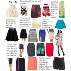 Soft Natural (SN) - Skirts. Skirt silhouettes/styles I might try, but not necessarily in these colors/patterns. -thatgirl