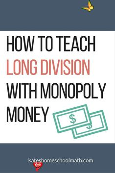 How to Teach Hands-On Long Division Frustrated teaching long division? Monopoly money to the rescue! You'll learn how to teach your child both HOW to do long division and WHY it works.<br> Frustrated teaching long division? Monopoly money to the rescue! You'll learn how to teach your child both HOW to do long division and WHY it works. Long Division Activities, Teaching Long Division, Division Math Games, How To Teach Division, Math Tutor, Teaching Math, Teaching Ideas, Math Education, Teaching Activities