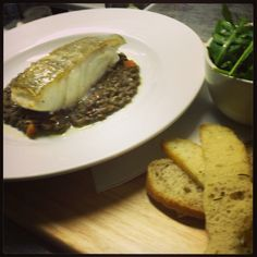 Cod with soffritto and lentils Lentils, Cod, Steak, February, Menu, Menu Board Design, Atlantic Cod, Menu Cards, Steaks