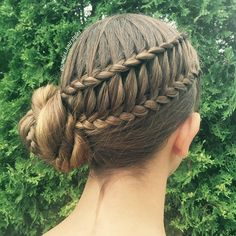 I don't have any hair to braid today, so here's a closer view of the ladder braid updo from a while ago ☺️ - - What do you think? Pretty Hairstyles, Girl Hairstyles, Braided Hairstyles, Wedding Hairstyles, Gymnastics Hair, Ladder Braid, Types Of Braids, Hair Heaven, Stylish Hair