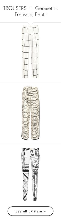 """""""TROUSERS  ~  Geometric Trousers, Pants"""" by kuropirate on Polyvore featuring pants, pantaloni, white, white loose pants, petite pants, high waisted loose pants, white straight leg pants, high rise pants, pants/jeans and white wide pants"""