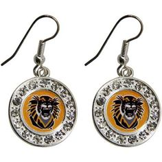 Fort Hays State University Tigers Round Crystal Earrings