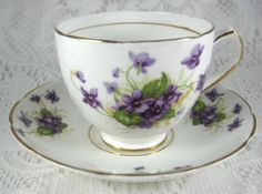 Vintage Violets English Cup And Saucer Bone China Duchess 1940s Teacup