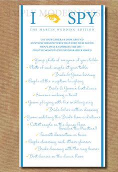 I spy Checklist Game Wedding Edition - Custom Colors - Digital File - DIY Printable. via Etsy. Great way to collect your  guests photos from the PhotoOpp Bride Edition app